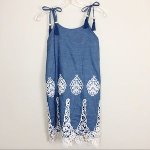 Rare Editions Denim and Crochet Lace Dress